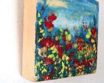encaustic original Mothers Day small art  Garden of Joy 160108