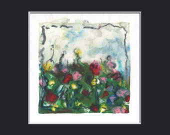Flower Garden Mother's Day  encaustic original painting mono print 160101