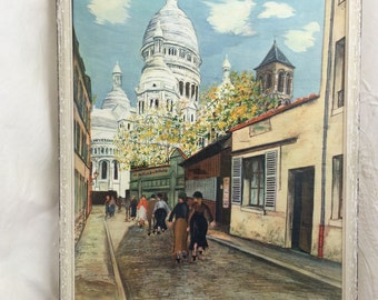 Paris Prints, Vintage Paris Scene, Utrillo Image, La Basilique du Sacre-Coeur, Framed Paris Scene, Utrillo Reproduction, Paris Street Scene