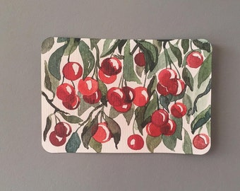 original watercolour painting, postcard with cherry