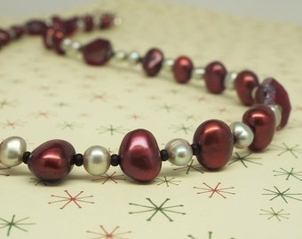 """Pearl necklace, cranberry red with purple and red hexagon crystal - """"Raspberry Chocolate"""" silver grey pearls, silver toggle clasp"""