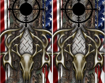 Deer Buck Skull Diamond Plate Camo LAMINATED Cornhole Wrap Bag Toss Decal Baggo Skin Sticker Wraps