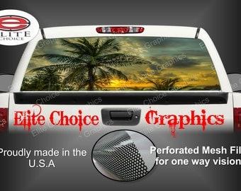 Beach Palm Trees Rear Window Graphic Tint Decal Sticker Truck SUV Van Car