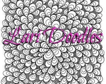 Adult Colouring Page, Instant Download, Dowloadable PDF, Shells, Flower, Botanical, Zentangle, Zendoodle