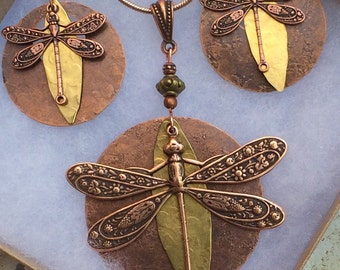 Dragonfly necklace set, hammered copper, mixed metal, unique dragonfly jewelry, large dragonfly pendant