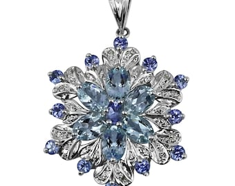 Tanzanite, Aquamarine 3.44 ctw Flower Pendant available in 925 Sterling Silver / White Gold / Rose Gold / Yellow Gold