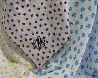 Monogramed Receiving Blanket, Stroller Blanket, Personalized Baby Blanket