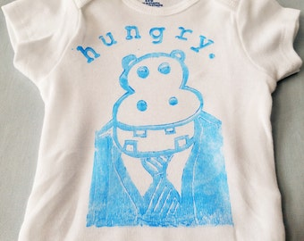 Hungry Hippo Baby Onesie Blue