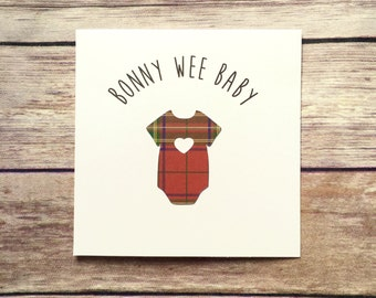 Bonny Wee Baby Card, Scottish Baby Card, Handmade New Baby Card, Tartan Card, New Baby, Baby Girl Card, Baby Boy Card, Scottish Card