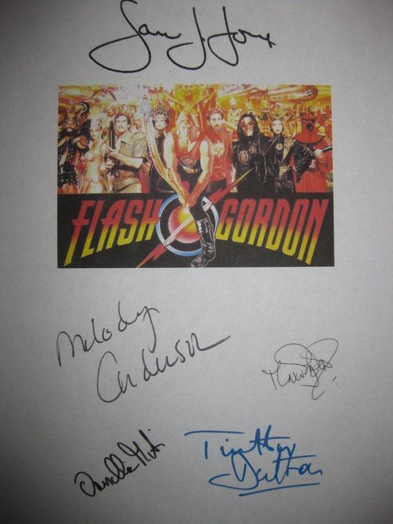 Flash Gordon Signed Film Movie Screenplay Script Screenplay Sam J. Jones Melody Anderson Timothy Dalton Max von Sydow Ornella Muti signature