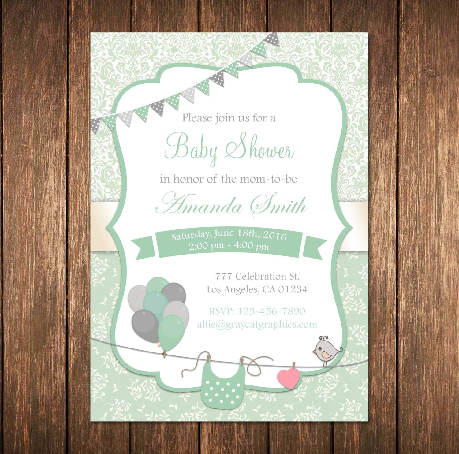 mint baby shower invitation gender neutral baby shower mint