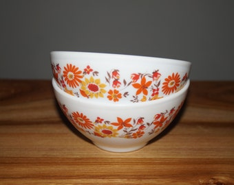 Two bowls Arcopol vintage feurs orange - set of 2