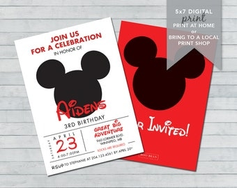 Mickey Mouse Birthday Invitation | Printable Invitation | Disney Invitation | Mouse Invitation | Mickey Invitation | Mickey Party