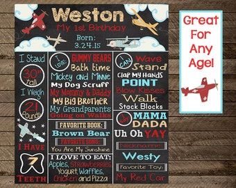 Airplane first birthday chalkboard, airplane first birthday, second, third, aviation theme party, airplane theme, pilot, birthday chalkboard