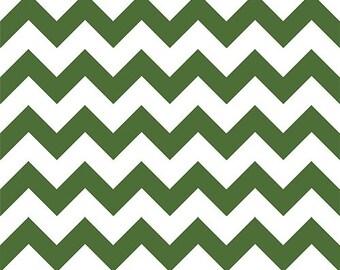 Evergreen Dark Green on White Chevron zig zag cotton jersey Knit fabric by the YARD