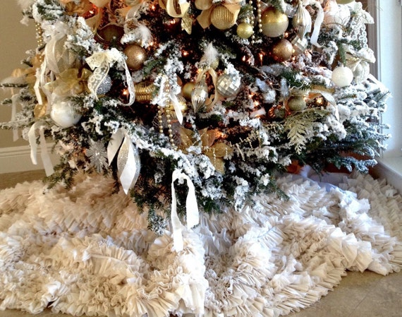 Beautiful all ruffled oversized Christmas tree Skirt holiday tree decor elegant vintage shabby chic