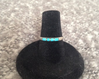 Inlaid Turquoise and Sterling Silver Ring