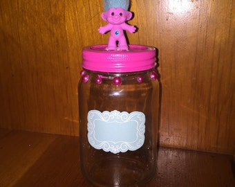 Troll Mason Jar Storage with Chalkboard Sticker