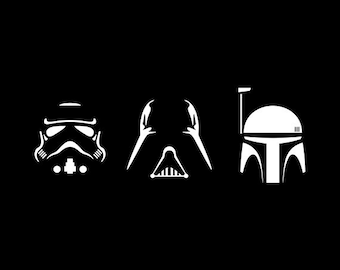 Star Wars Svg - darth vader svg - trooper svg - boba fett silhouette pack svg, dxf, eps