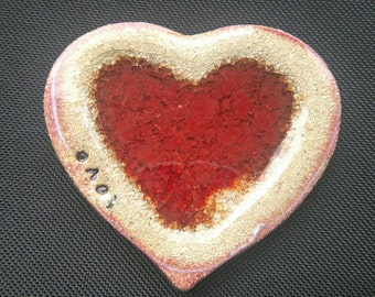 Red ceramic heart dish with recycled glass