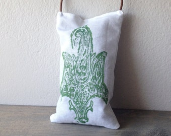 Lavender Sachet India Block Print Apple Green on White