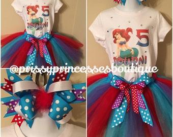 Little Mermaid Tutu Set Ariel Tutu Set Little Mermaid Birthday Outfit