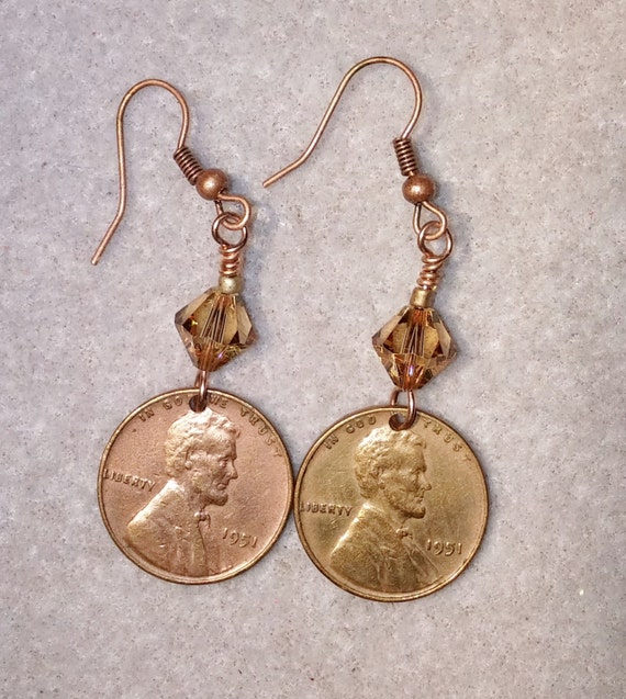 1951 Copper Lincoln Penny Earrings