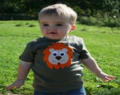 Cute Lion TShirt Baby Toddler Custom Made Fair Trade Applique Clothing Top Tee Lion Tshirt Animal Jungle 1st Birthday Boy