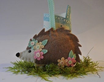 Hedgehog felt hanging decoration - can be personalized