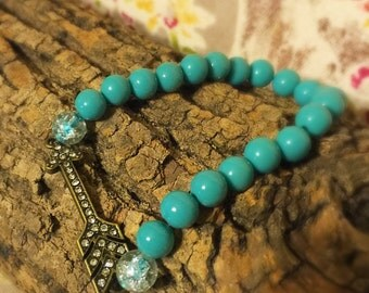 Turquoise Beaded Bracelet with Arrow Perfect for Stacking
