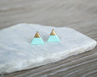 Mint Clay Triangle Studs with 18k Gold, Silver, or Copper, Hand Painted Gold Dipped, Polymer Clay Earrings, SGCE01