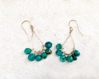 Green Turquoise Teardrop Hoop Earrings, 14k gold-fill