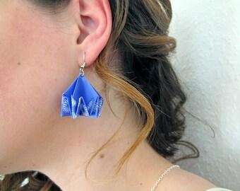 Bijou en origami. Boucles d'oreilles en origami Nest violet et blanc. Fait-main, hypoallergénique. Commandes personnalisées.