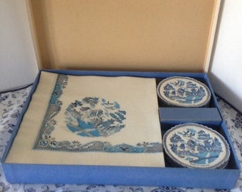 "Vintage Set of BLUE WILLOW Paper Napkins & Coasters In Original Box--""Willow Ware When We Entertain"" Made In England--Designed By Gaby"