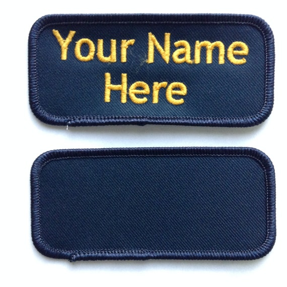 Custom personalized embroidered name tag patch dark navy for Embroidered tags personalized