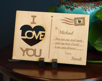 I Love You Personalized Wooden Postcard - Custom Anniversary Gift - Romantic Gift for Men or Women