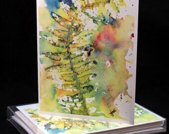 Set of Original PRINT Watercolor Fern cards, Fern Note Cards/Greeting Cards (Set of Four), Fern  Cards, Watercolor Cards