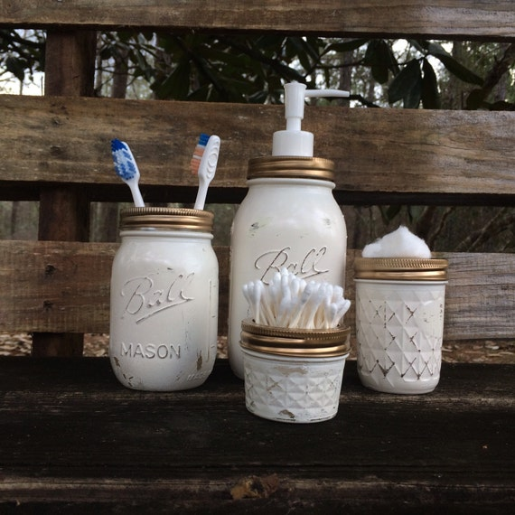Bathroom decor 4 piece mason jar bathroom set by for Bathroom decor mason jars