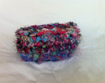 Scrap Happy Multi-colored Basket Reuse Recycle Refashion Repurpose