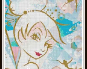 Tinkerbell Cross Stitch Pattern - Fairy Cross Stitch Pattern - PDF Download
