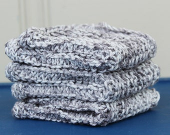 Cotton Wash Cloths in Gray Splash - 3 pack - Ready to Ship