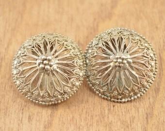 Vintage Ornate Filigree Medallion Earrings Sterling Silver 13.5g Vintage Estate