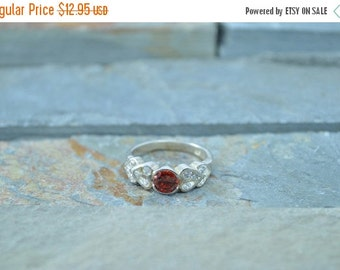 1 Day Sale CZ Heart Accented Orange Stone Ring Size 7.25 Sterling Silver 3.7g Vintage Estate