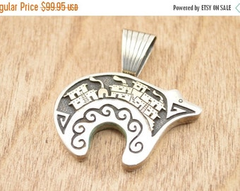 ON SALE Gold Accented Hopi Bear Pendant Sterling Silver 14.2g Vintage Estate