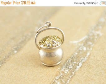 ON SALE Pot-of-Gold Two Tone 3D Charm / Pendant Sterling Silver 4g Vintage Estate