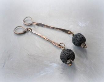 Copper dangle earrings, hammered copper earrings, black earrings, minimalist earrings, lava bead earrings, rustic primitive simple earrings