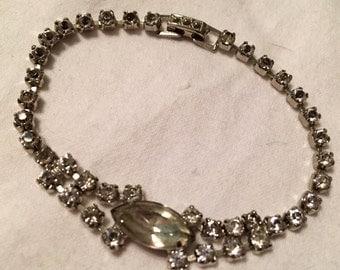 Vintage Prong Set Clear Rhinestone Bracelet