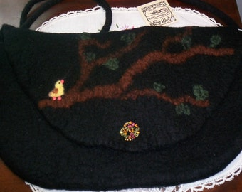 Hand Felted Hand bag, Black, Purse, Strap, Felted, WetFelted, Needle Felted