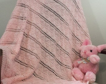 Pink Hand Knit Baby Blanket - Baby Afghan