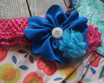 Made to Match Lucia Shabby Top, Made to Match Matilda Jane. Blue and pink headband